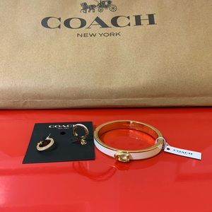 Coach earrings bracelet set white enamel and gold